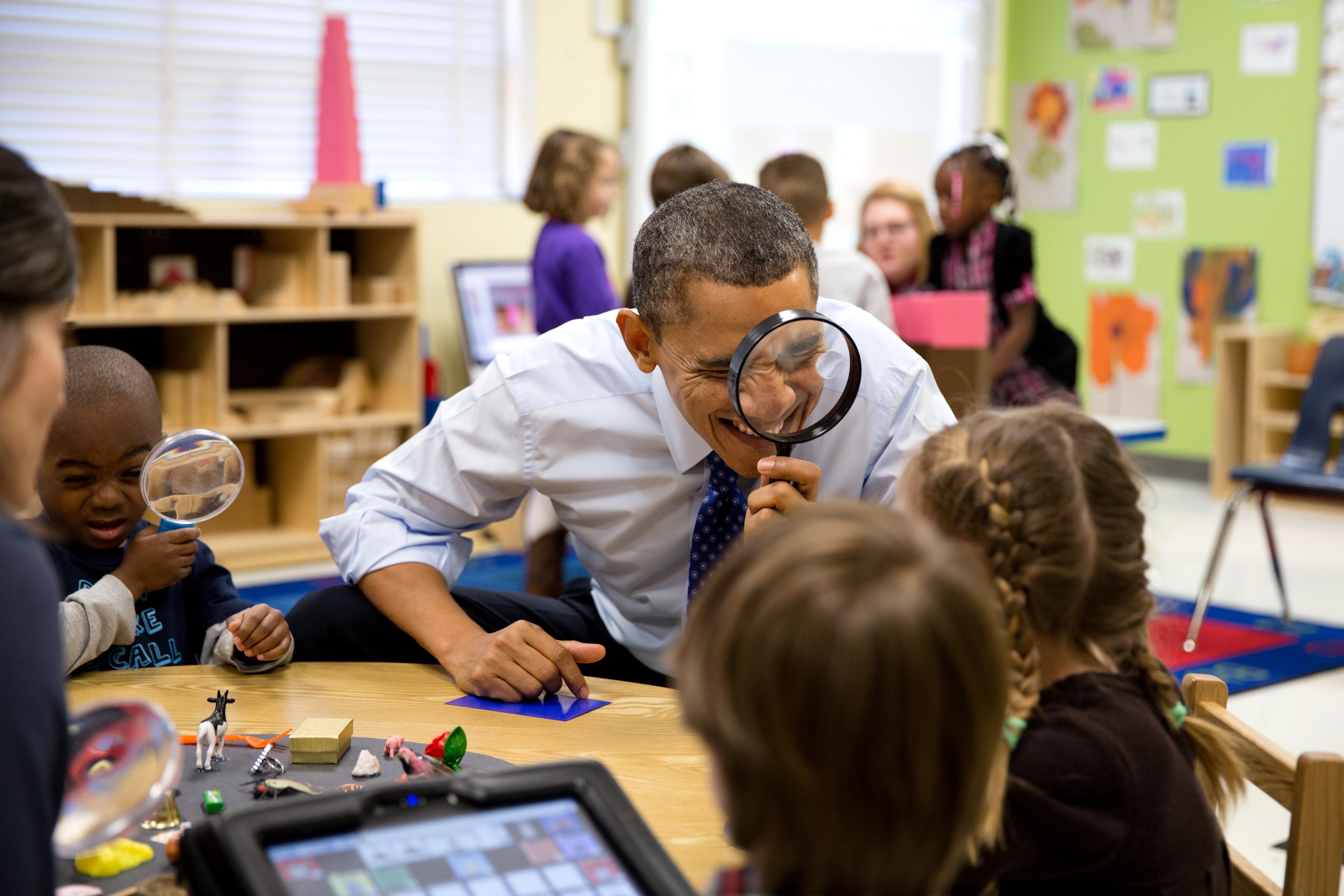 File:Barack Obama through a magnifying glass jpg - Wikimedia