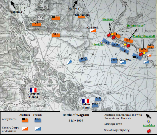 "The evening attack on 5 July included offensive actions from the French ""Army of Italy"" (short: Ar. It.), II, III and IX Corps, against the Austrian 1st, II and IV Corps. The intervention of the Austrian Grenadier Reserve and Cavalry Reserve was not necessary. Battle of Wagram 5 July 1809 evening.png"