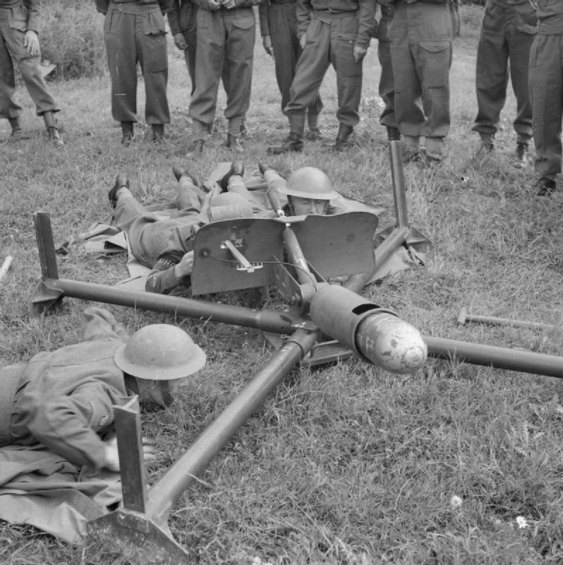 Men of the Saxmundham Home Guard prepare to fire a Blacker Bombard during training with War Office
