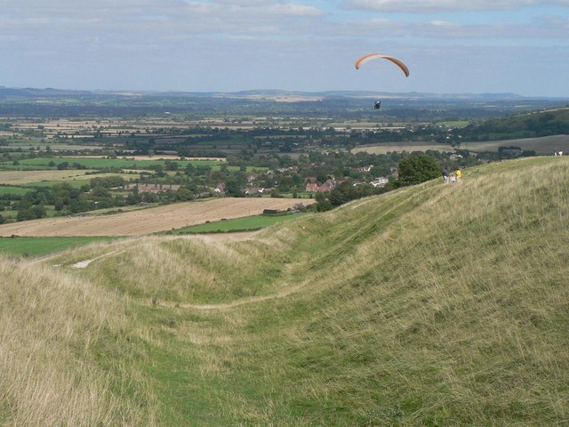 Bratton, hillfort and paragliders - geograph.org.uk - 539753