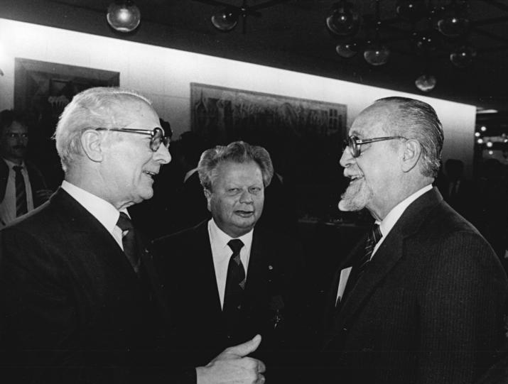 Carlos Rafael Rodríguez (right) with [[Erich Honecker