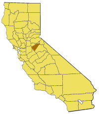 Map of California highlighting Calaveras County