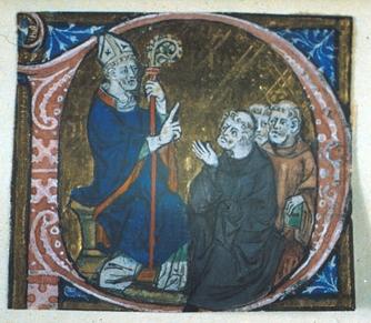 Erkenwald underviser munker, fra Chertsey-breviaret (ca 1300)