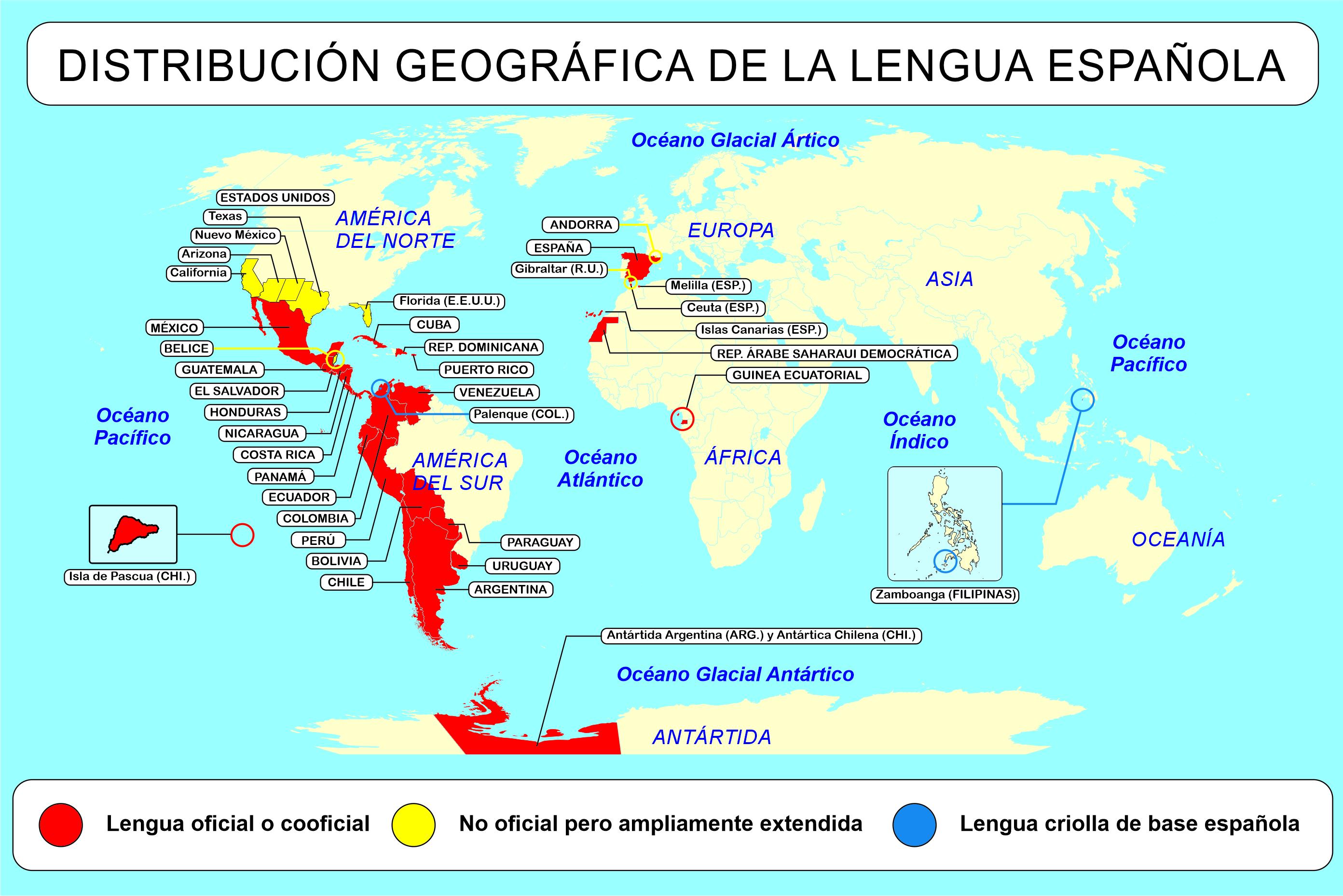 世界中スペイン語圏の各地