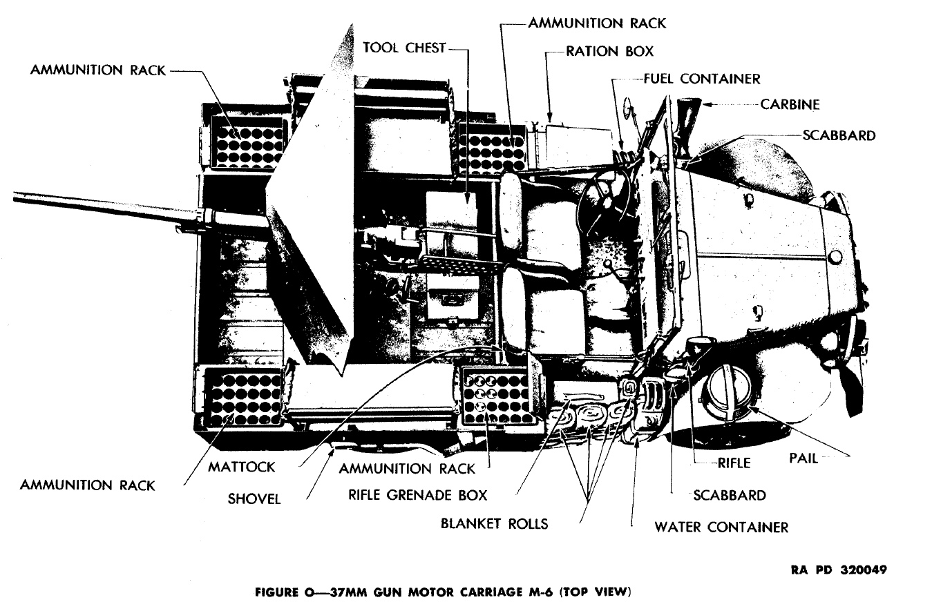 File:Dodge WC-55 M6 Gun Motor Carriage Top schematic from ... on