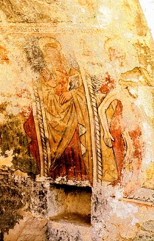 Peintures intérieures de la Chapelle Santa Maria d'Arca en 1995