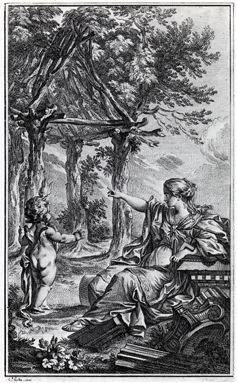 Frontispiece of Marc-Antoine Laugier: Essai sur l'Architecture 2nd ed. 1755 by Charles Eisen (1720-1778). Allegorical engraving of the Vitruvian primitive hut.