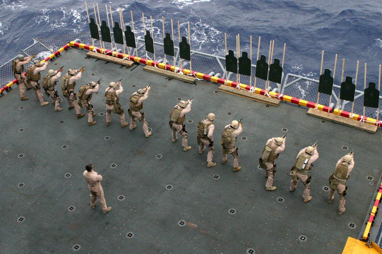 Pistol Training at Sea