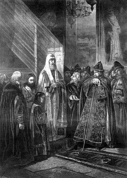 Metropolitan Philip confronting Ivan the Terrible (drawing by Vasili Pukirev, 1875). Filipp and Ivan IV.jpg