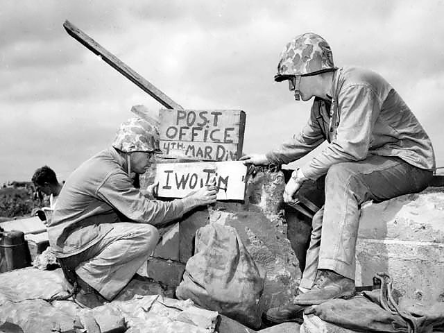 Marines from 4th Marine Division set up a post office to distribute airdropped mail during the Battle of Iwo Jima
