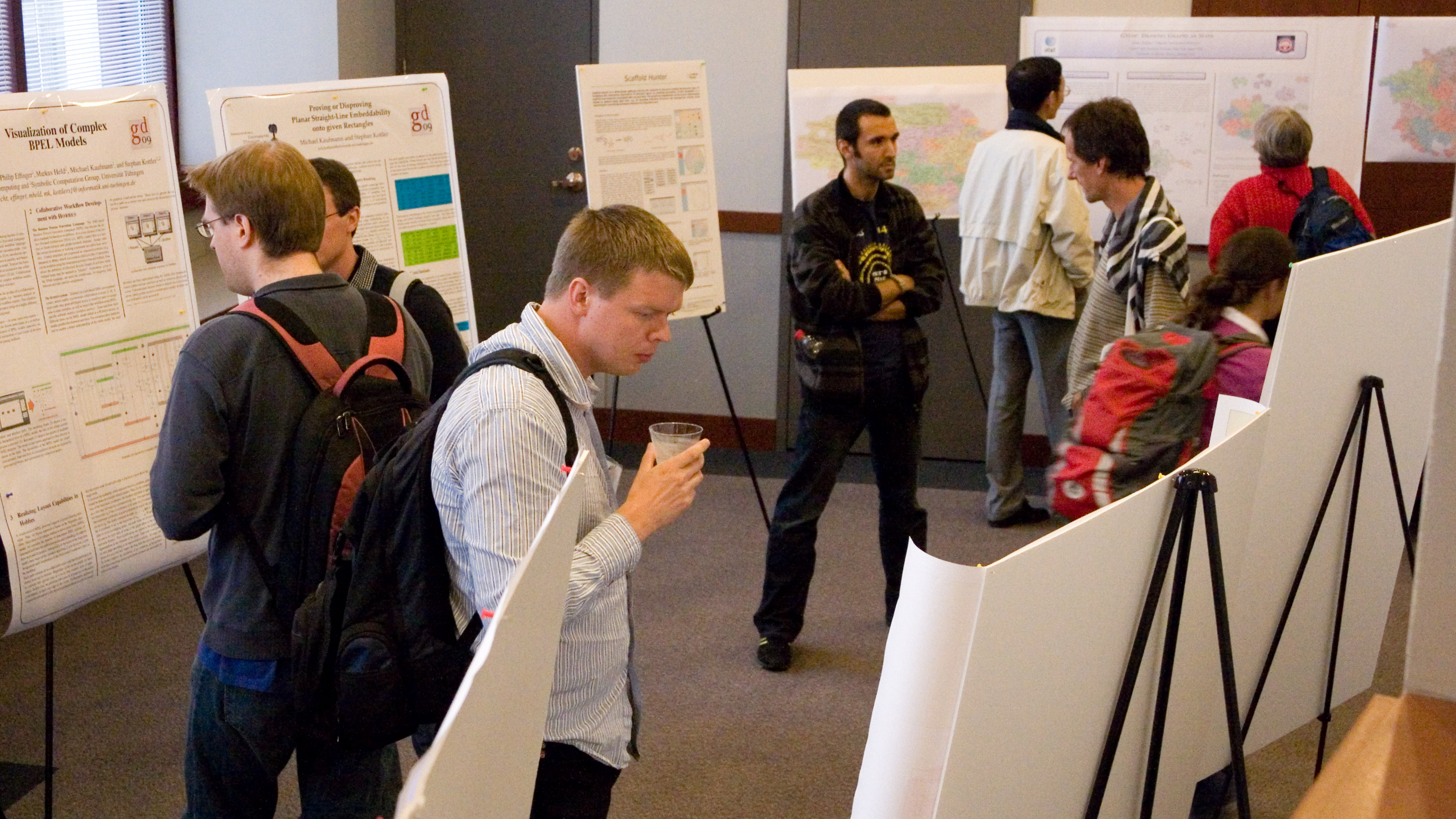 The poster session at the 17th International Symposium on Graph Drawing, Chicago, 2009. By David Eppstein