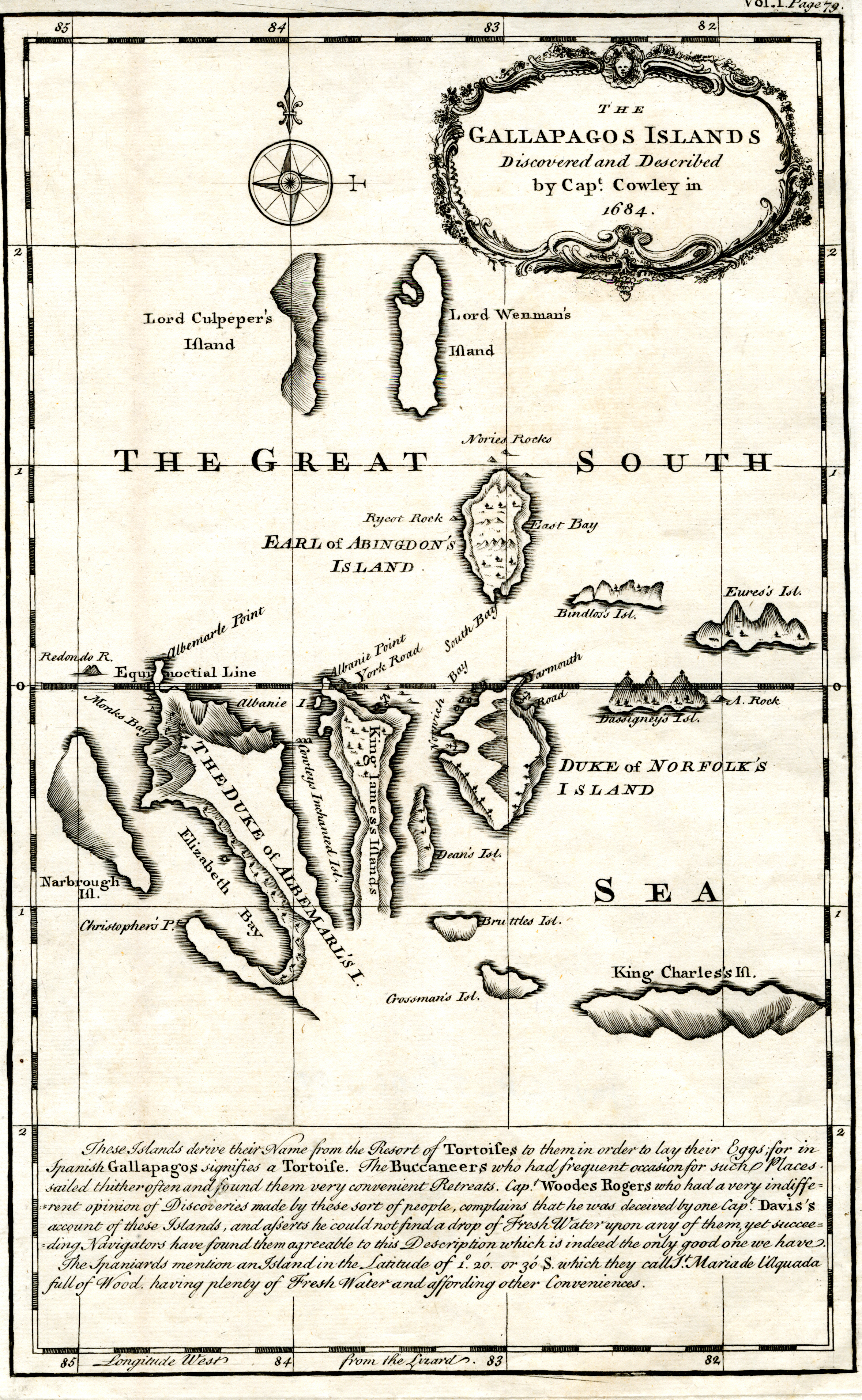 Map of the Galapagos Islands as described by Ambrose Cowley in 1684.