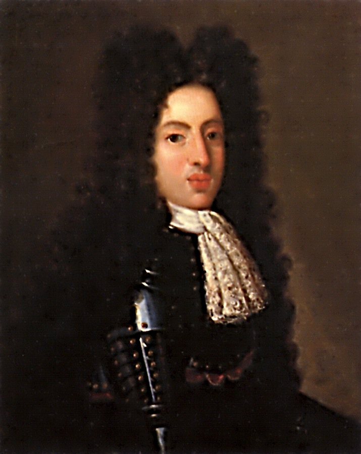 A 19-year-old man wears a black suit of armour and peri-wig.