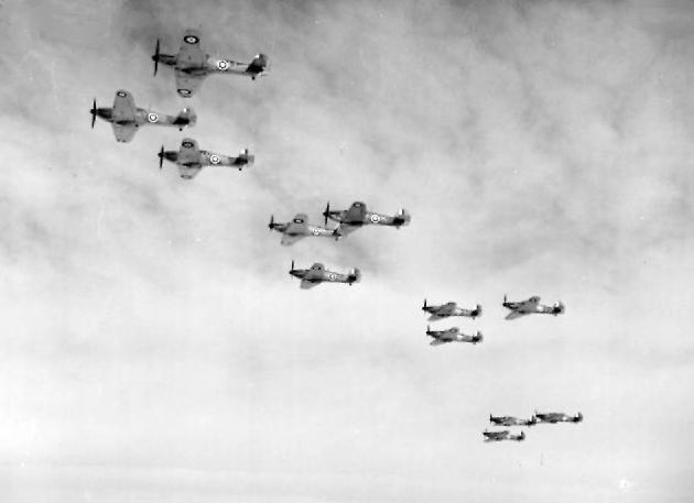 Hawker Hurricanes of 85 Sqn RAF in flight 1940
