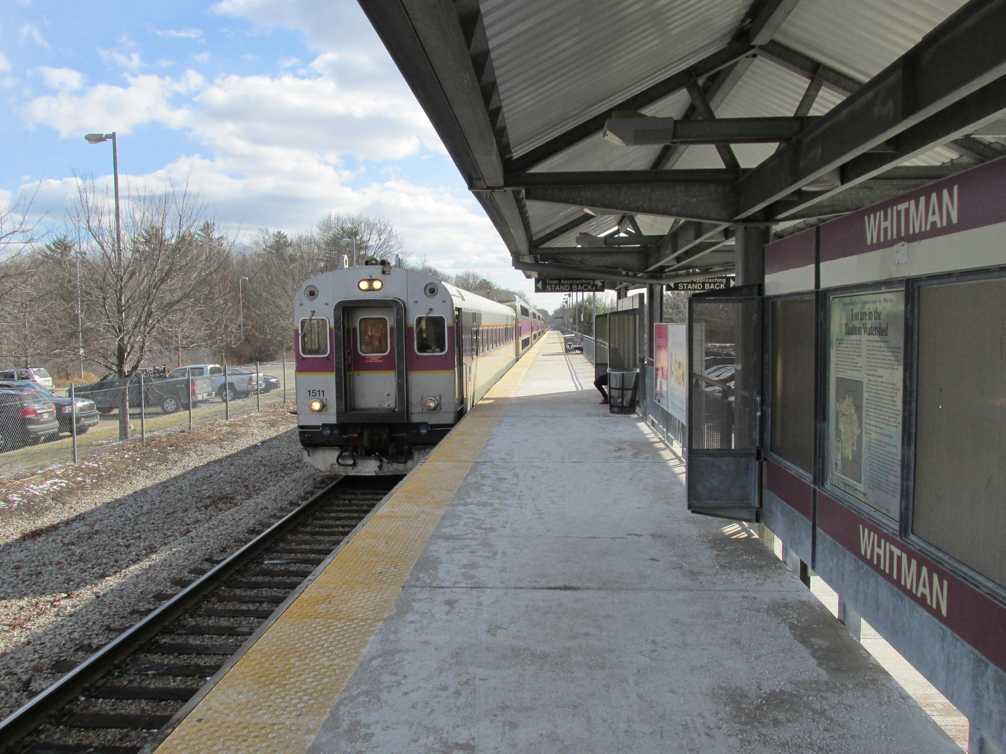 Cars On Line >> File:Inbound train, Whitman MBTA station, Whitman MA.jpg ...