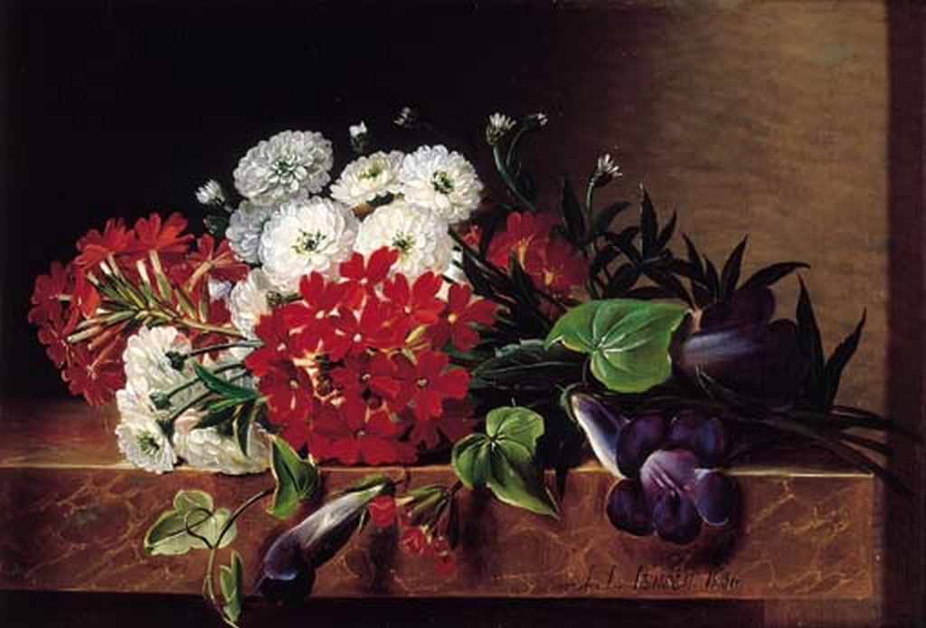 J.L. Jensen - Iris, georginer, pelargonier og vedbendblade på marmor - 1836.png