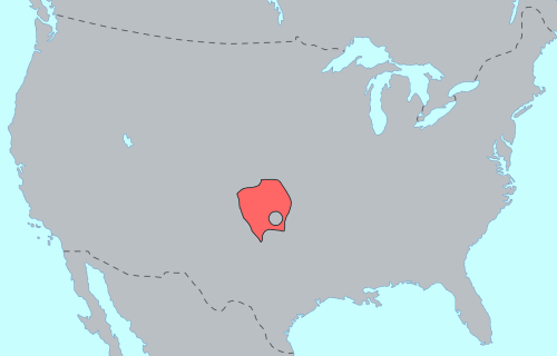 The original Southern Plains territory of the Kiowa Nation. Kiowa lang.png
