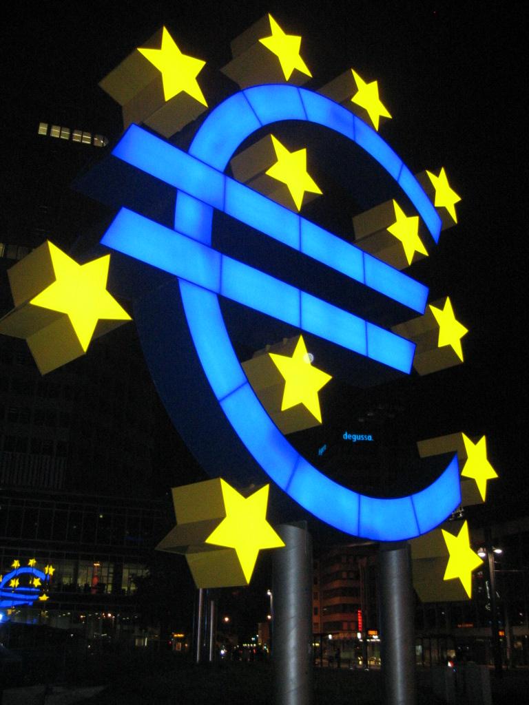 Lighted Euro sign sculpture in Frankfurt