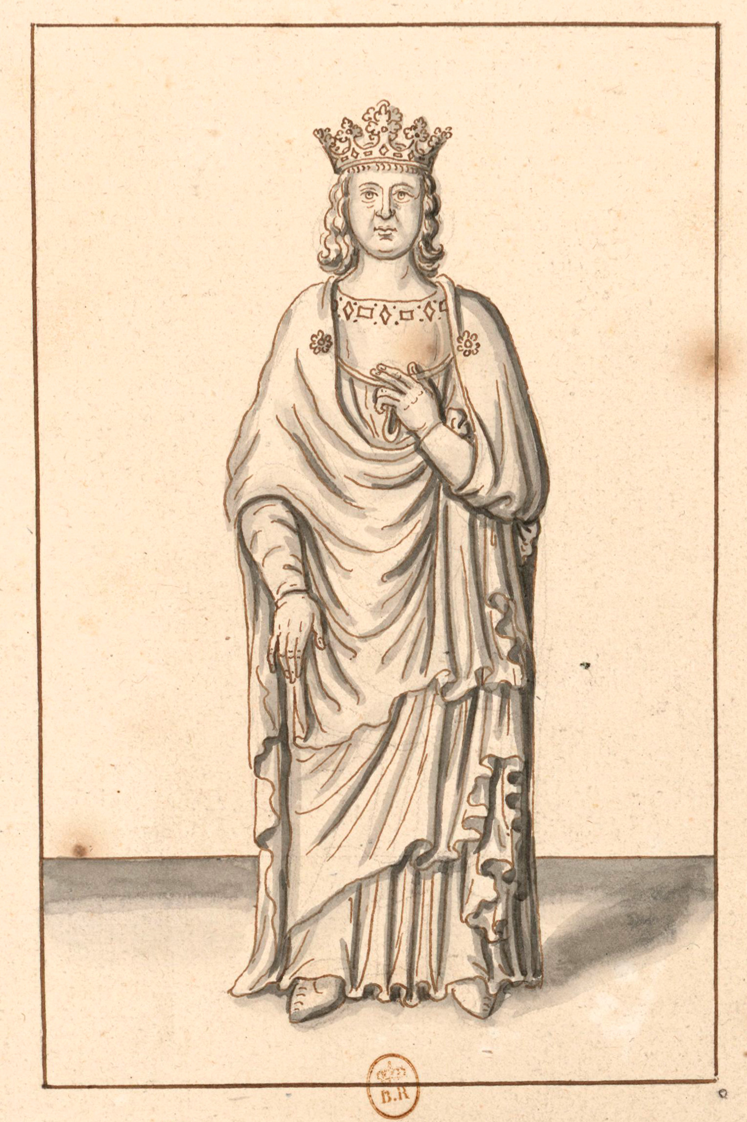 Louis X, dit le Hutin.Dessin anonyme, collection de Roger de Gaignières (BnF, département Estampes et photographie, Paris).
