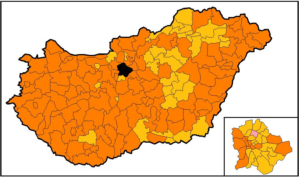 magyarország térkép 2010 Fájl:Magyarországi választás 2010 győztes egyéni jelöltek első  magyarország térkép 2010