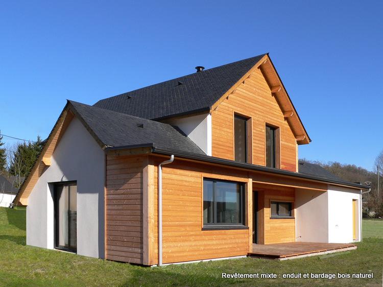 File maison bois avec rev tement mixte bois naturel et enduit asson b arn jpg wikimedia - Maison nature et bois ...