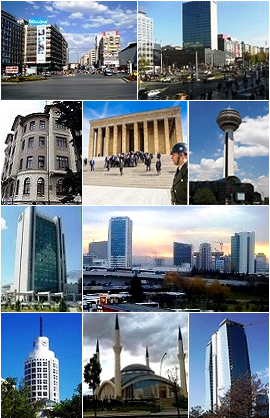 From top to bottom, left to right: Two views of Kızılay Square, a Turkish Neoclassical style building near the Central Station, Anıtkabir, Atakule Tower, Ankara Crowne Plaza Hotel, Ankara Intercity Bus Terminal, Sheraton Ankara, Ahmet Hamdi Akseki Mosque, a skyscraper in Balgat, Çankaya.