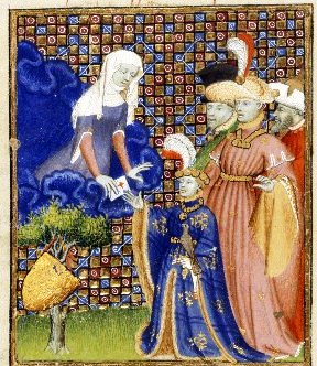 The goddess Othea presents her letter to Hector
