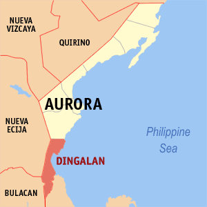 Map of Aurora showing the location of Dingalan