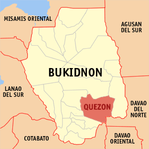 Map of Bukidnon showing the location of Quezon