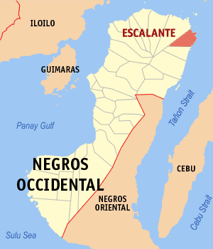 Map of Negros Occidental showing the location of Escalante City