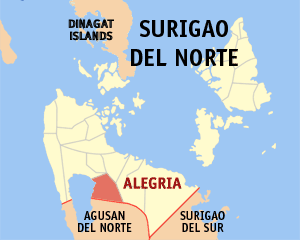 Map of Surigao del Norte showing the location of Alegria
