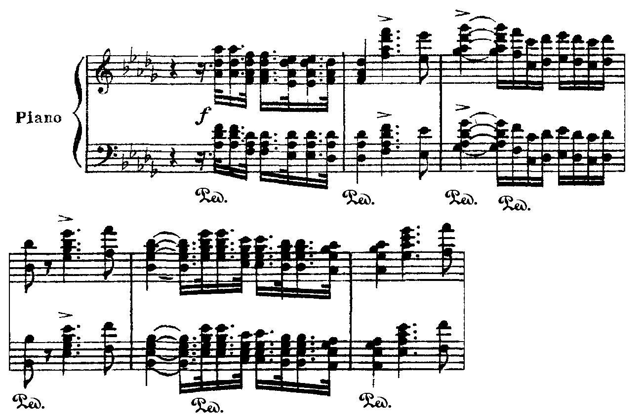 Tema principal del Primer concierto para piano, tocado al piano.
