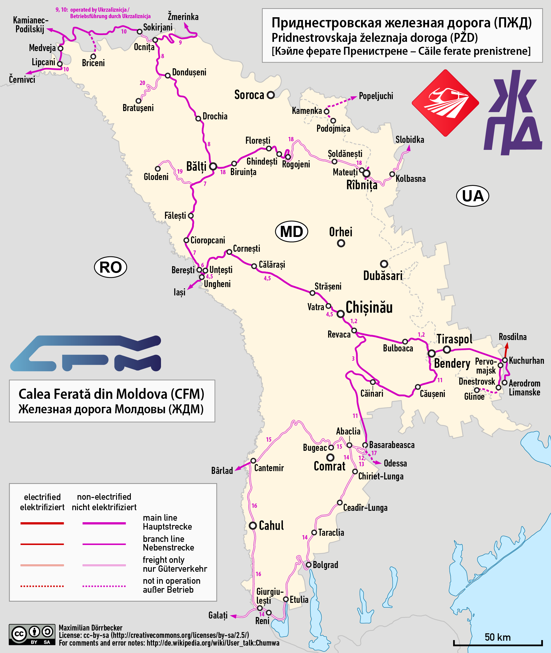 Carte des liaisons ferroviaires en Moldavie