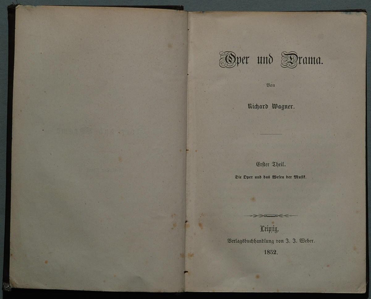Portada de la primera edición de Ópera y drama (1851).