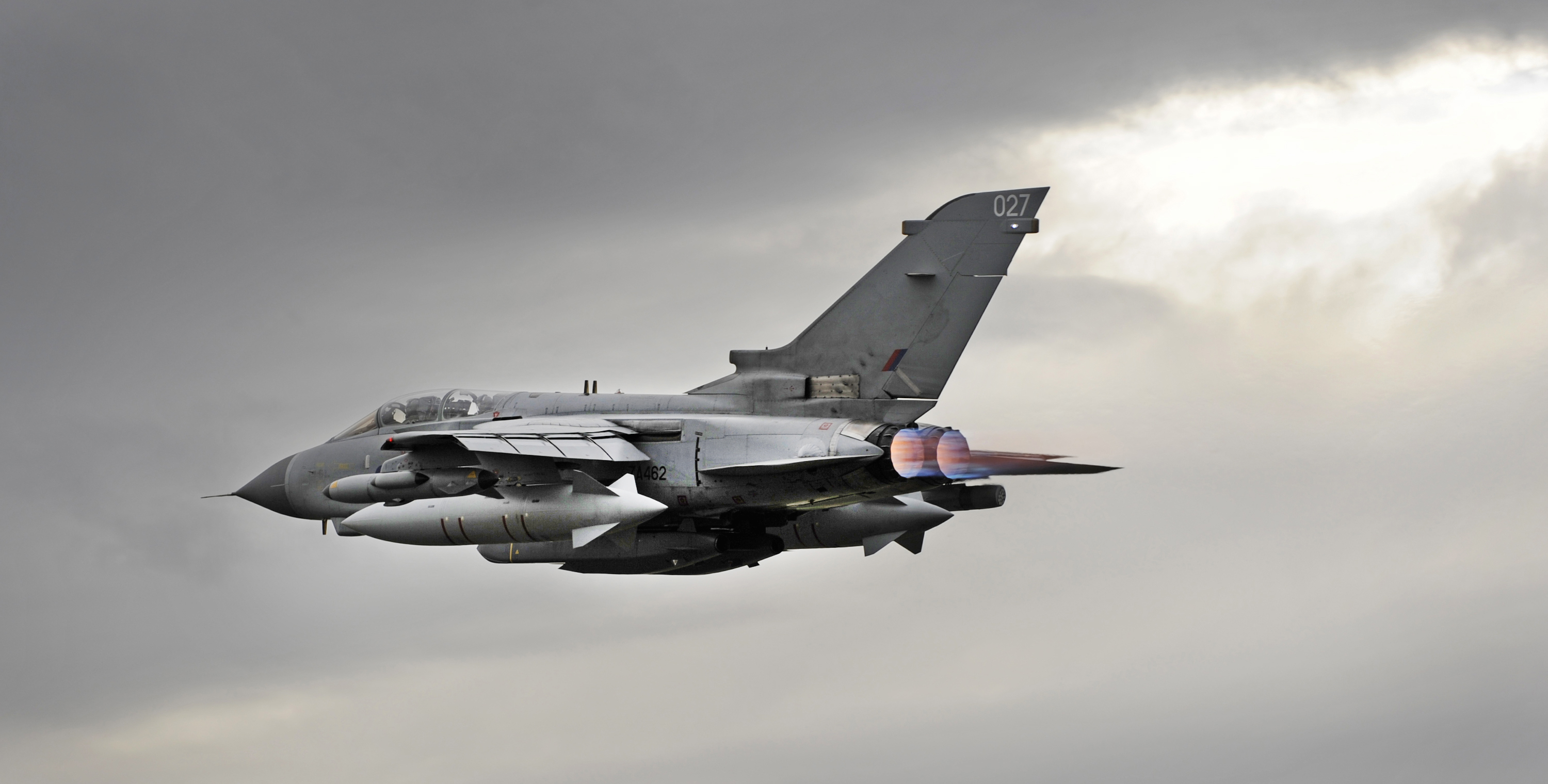 Royal Air Force Tornado GR4 aircraft leaves RAF Marham for operations overseas.