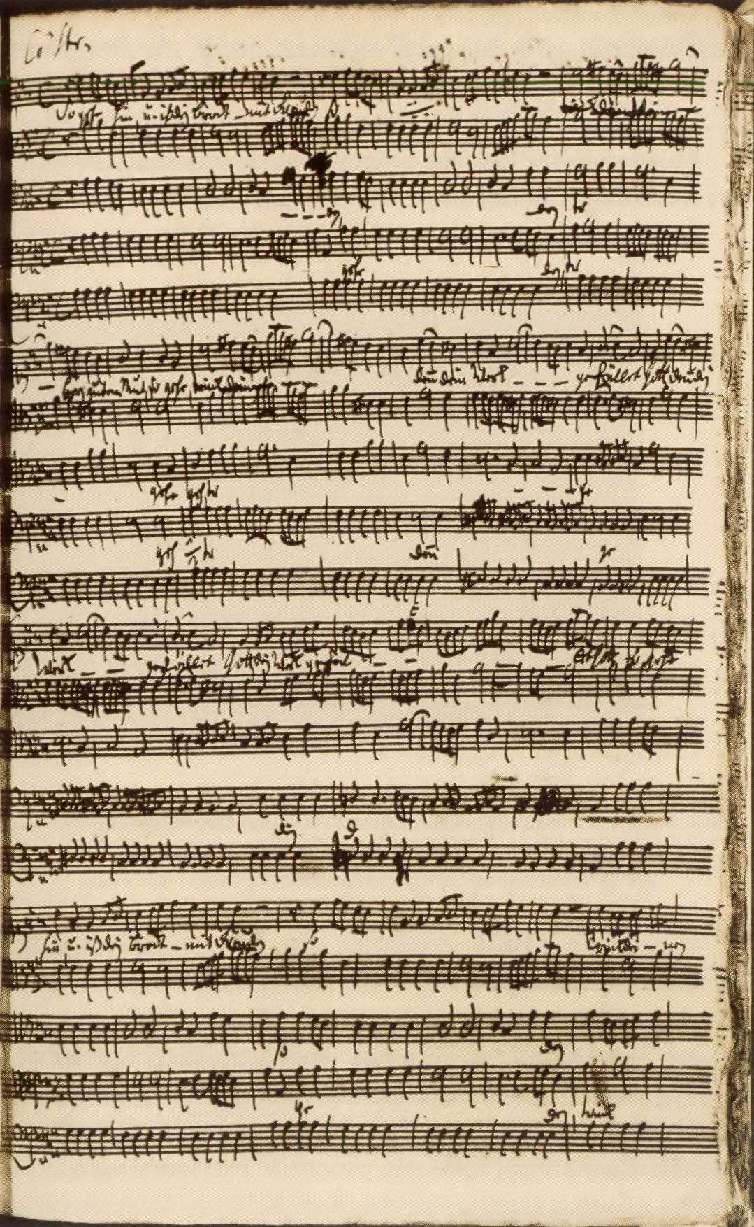Página manuscrita do oratório ''Kapitänsmusik'' (1730), com o trecho ''So gehe hin und iß dein Brot mit Freuden''.