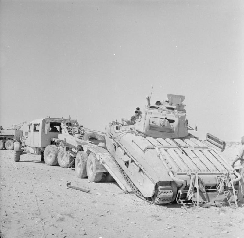 A Matilda tank loaded onto a Scammell transporter