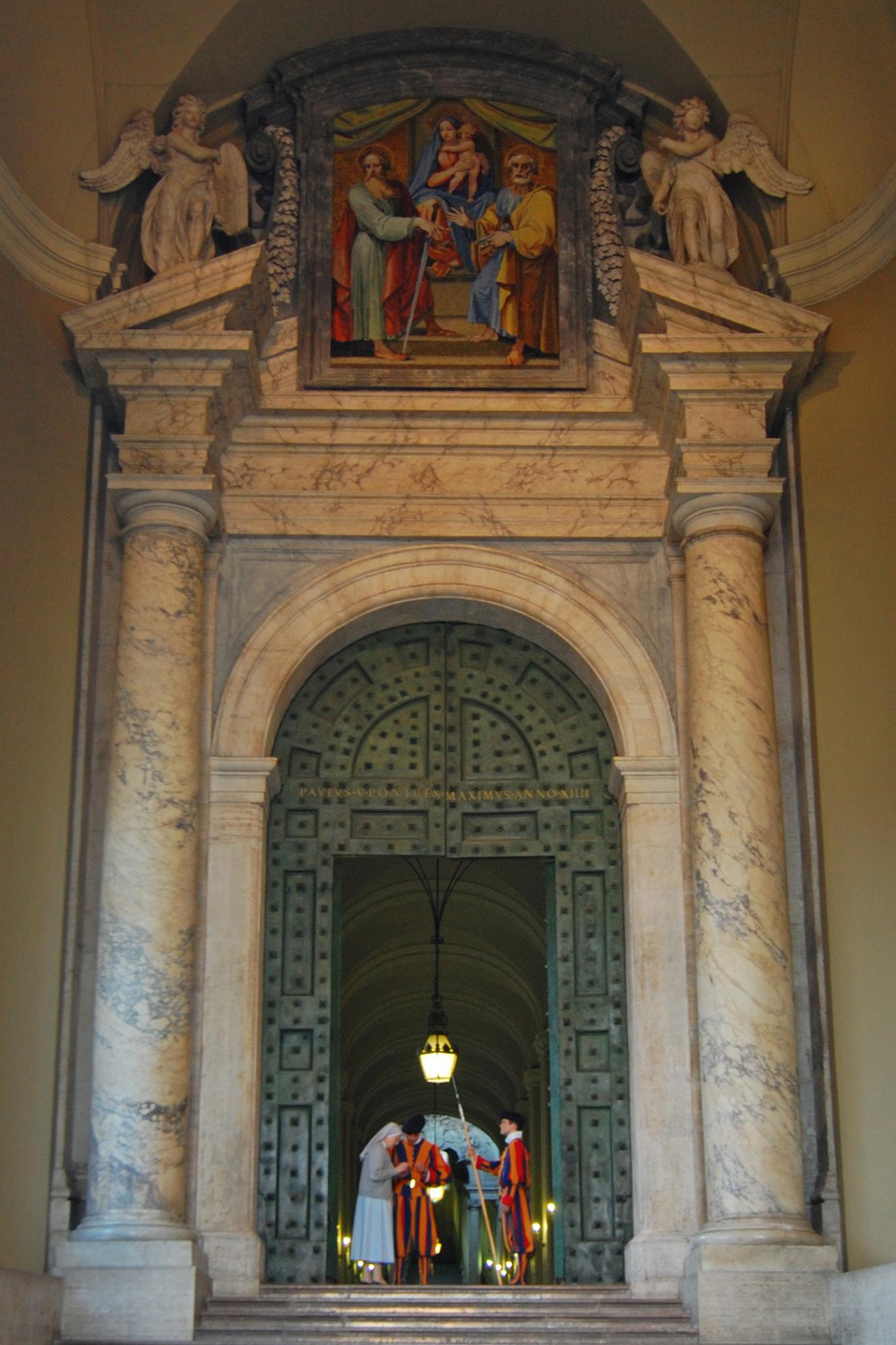 The Bronze Door. Swiss Guards At The Entrance Of The