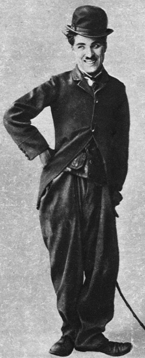 "Chaplin as the Tramp in 1915, cinema's ""most universal icon"" The Tramp Essanay.jpg"
