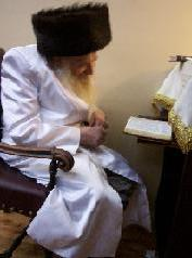 The rabbi praying