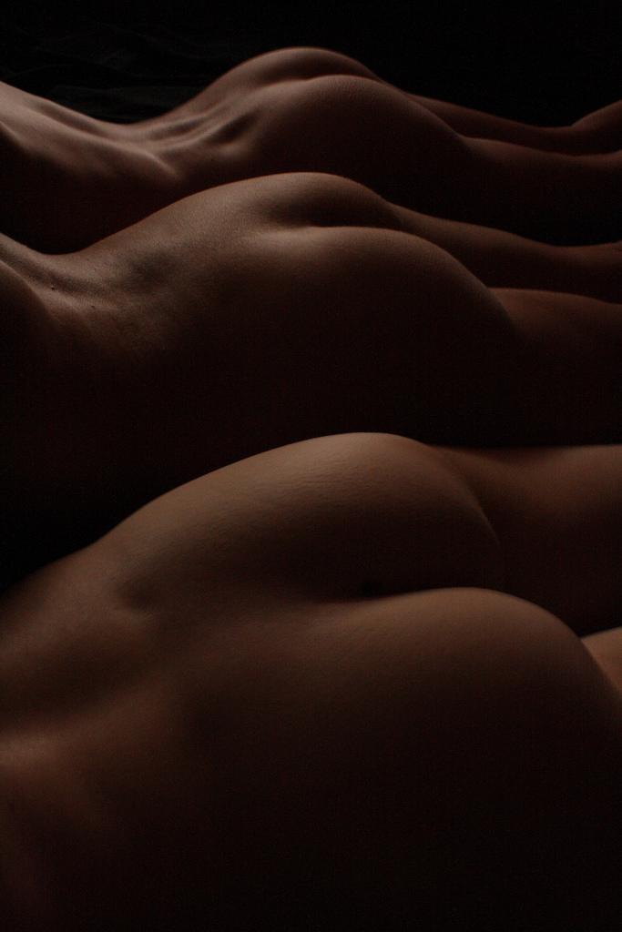 Naked female buttocks