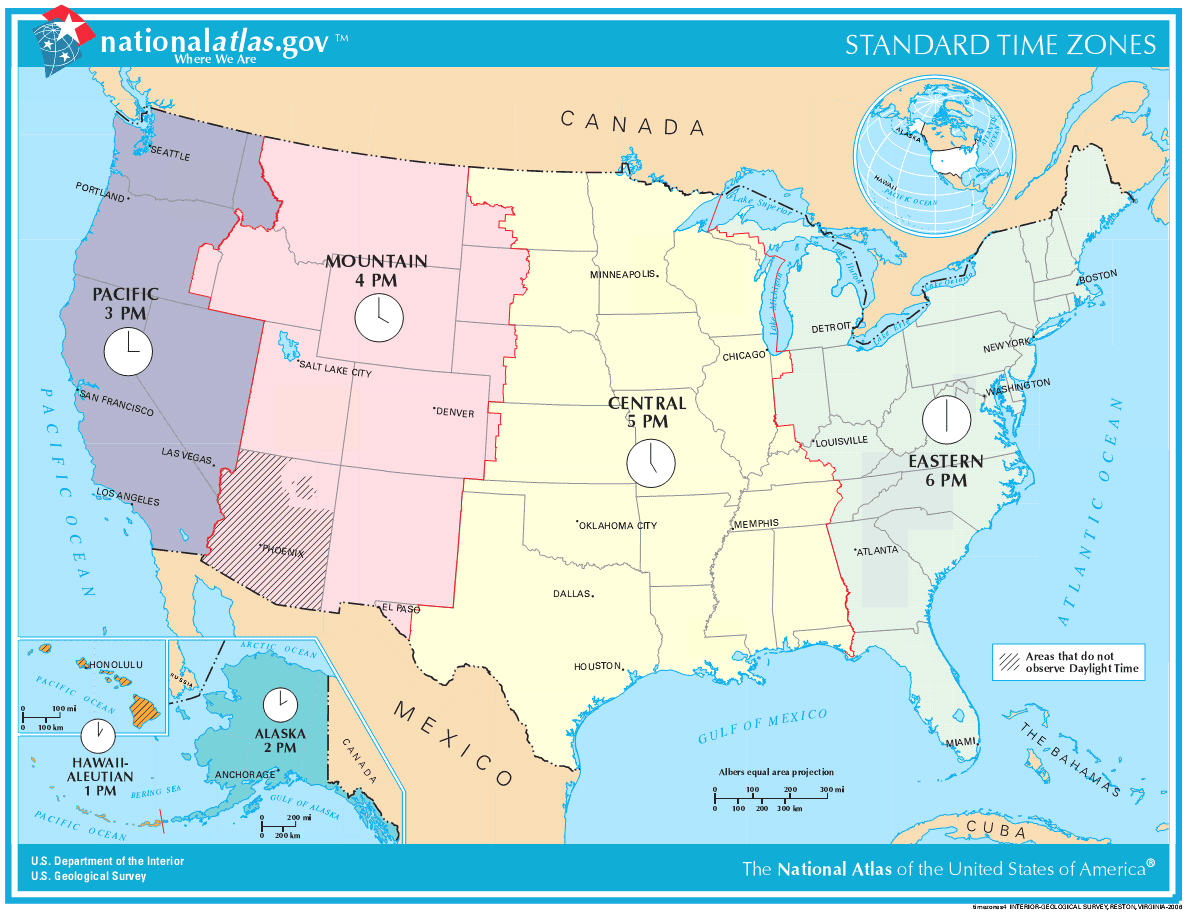 Usa Map Time Zones