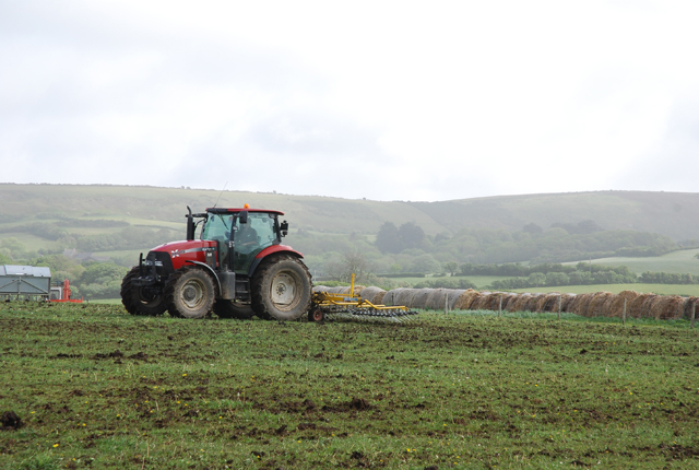 File Tractor Working On Woodyhyde Farm Geograph Org Uk