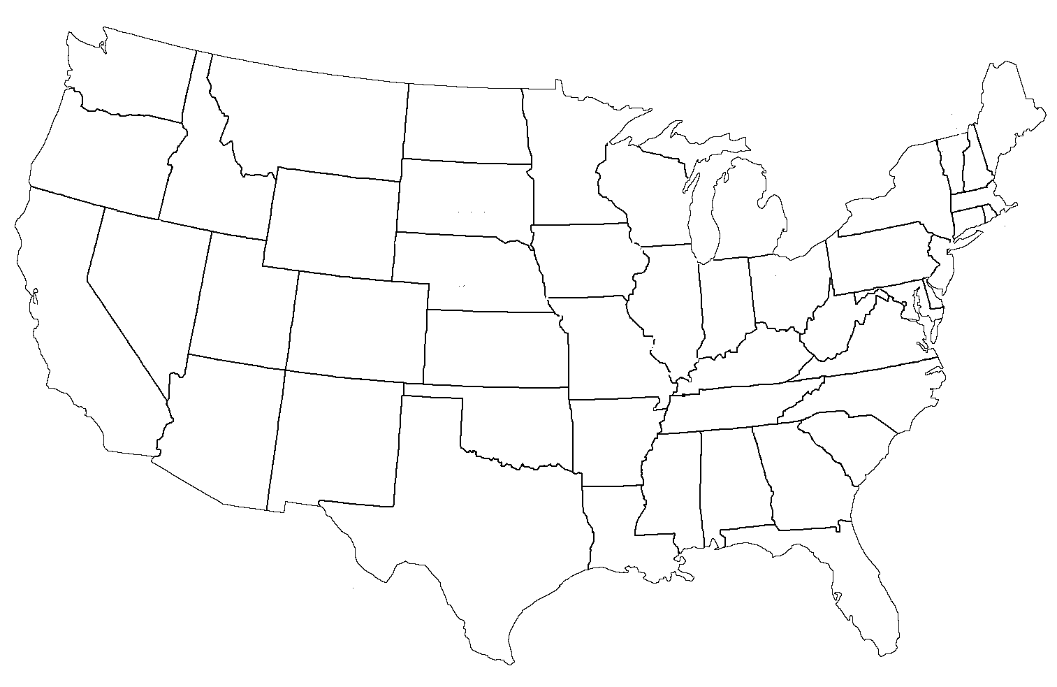 Blank Page Of The United States - Outline map of us states