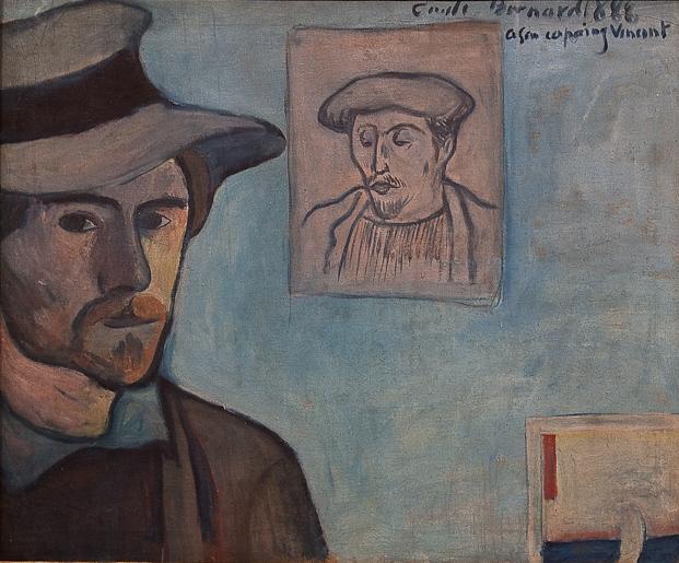 File:WLANL - MicheleLovesArt - Van Gogh Museum - Emile Bernard - Self-portrait with portrait of Gauguin, 1888 cropped.jpg