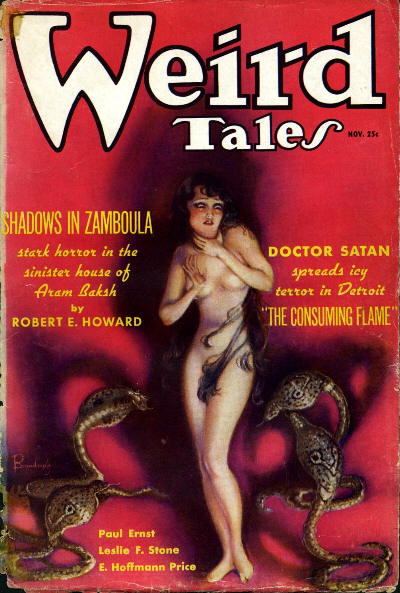 Cover of Weird Tales, July 1936 - A naked woman stands against a red background surrounded by four cobras.