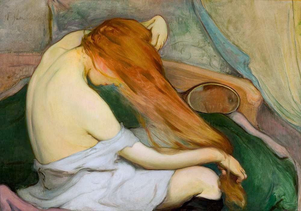 """> Canvas Slewinski """"Czesząca się"""", """"Donna che pettina"""" al Museo Nazionale di Cracovia."""