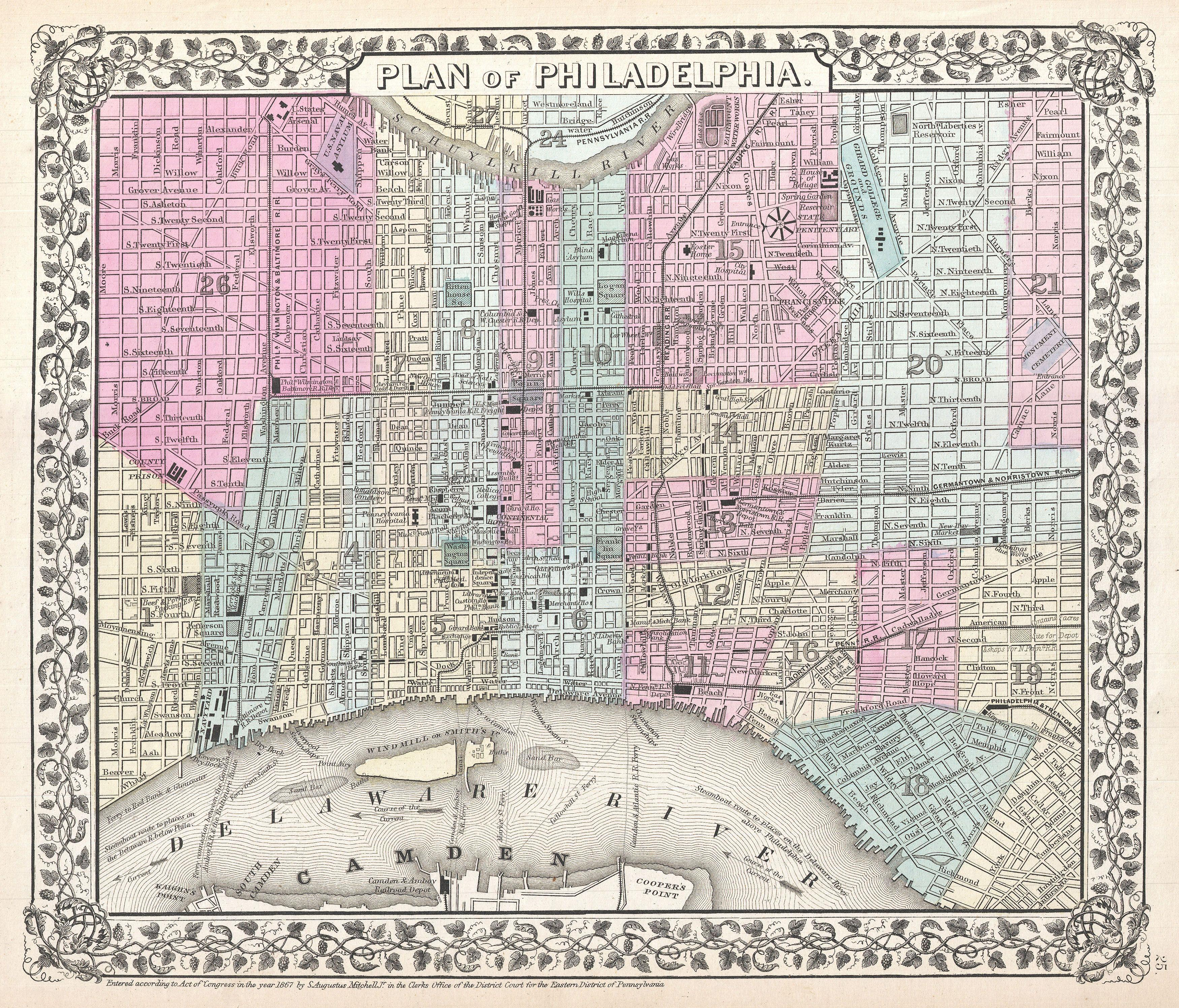 File1867 Mitchell Map of Philadelphia Pennsylvania