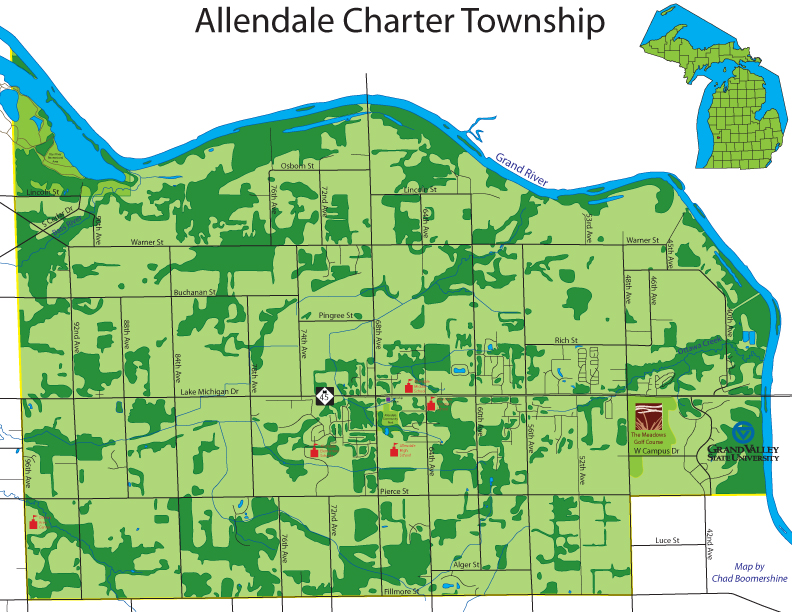 Grand Valley Pew Campus Map.Allendale Charter Township Michigan Wikipedia