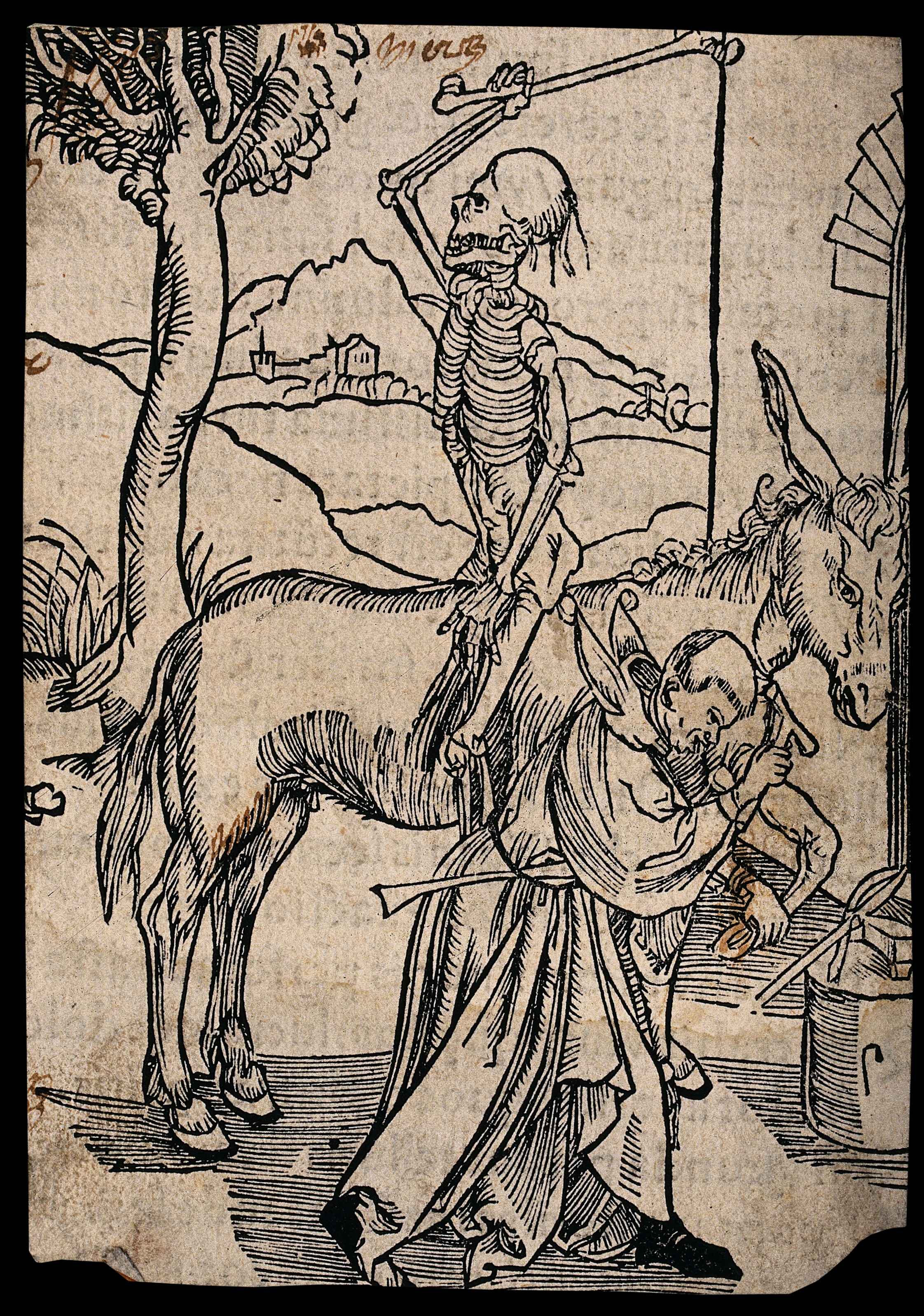 A skeleton sits backwards on a horse waiting for a blacksmith, dressed as a fool, to finish his job. Woodcut.
